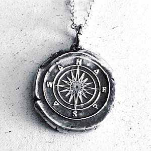 Reserved for KS - Compass - Vintage Inspired Silver Wax Seal Pendant