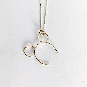 14K Mouse Ears Necklace