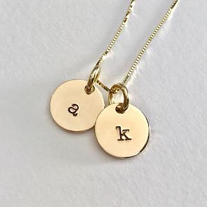 14K Gold Letter Charm Necklace - Initial Jewelry