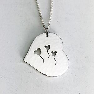Mouse Balloon Heart Necklace - Handmade Pendant - Great for Disney Fans