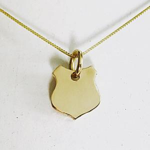 14K Gold Dainty Badge Necklace - Law Enforcement Necklace