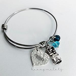 Jeep Girl Bangle Bracelet - Heart Charm Jeep Grill
