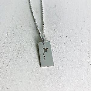 Mouse Balloon Necklace - Rectangle - Sterling Silver