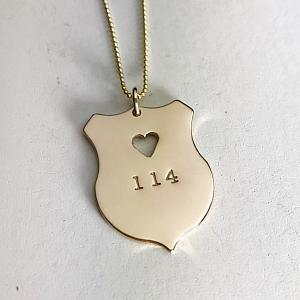 Golden Law Enforcement Officer Heart Badge Pendant - Handmade LEO Jewelry