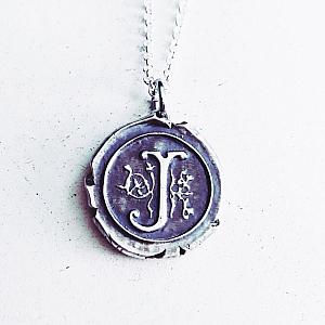 Vintage Inspired Silver Wax Seal Letter Pendant