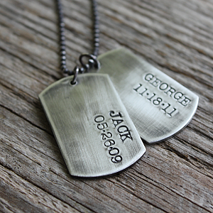 Dog Tag Necklace - Rustic Dog Tags