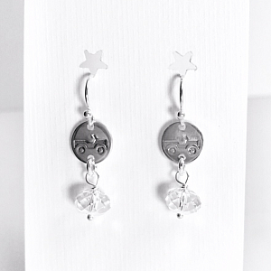 Jeep Earrings - Sterling Silver Dainty Dangles with Crystals
