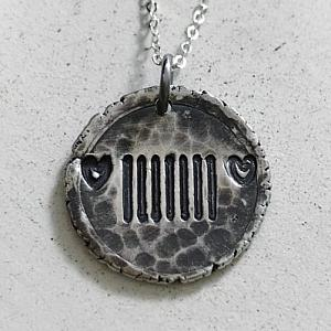Heart Headlights Jeep Grill Silver Wax Seal Pendant Necklace