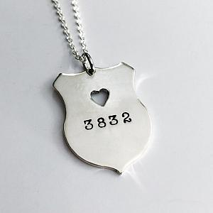 Law Enforcement - Sterling Silver Heart Shield Necklace