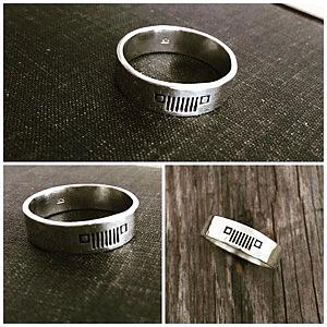 Jeep Ring - Sterling Silver  Jeep Wedding Band