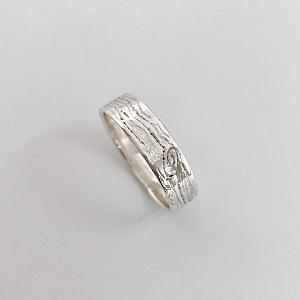Wood Grain Wedding Band - Handmade Sterling Silver Wedding Ring