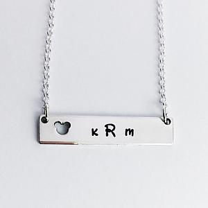 Mouse Monogram Bar Sterling Silver Necklace