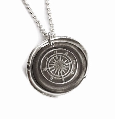Large Compass - Vintage Inspired Silver Wax Seal Pendant