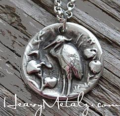 Great Blue Heron Wax Seal Pendant