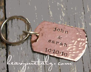 Copper Dog Tag Keychain