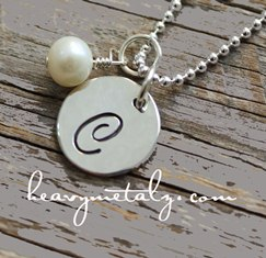 Single Initial Necklace w Crystal or Pearl