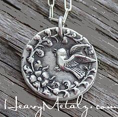 Garden Bird Wax Seal Pendant Necklace