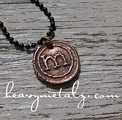Vintage Inspired COPPER Wax Seal Pendant
