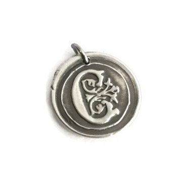 Vintage Inspired Silver Wax Seal Pendant - Pendant Only
